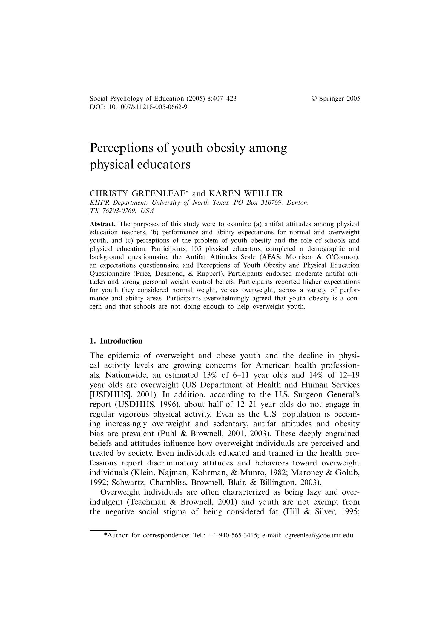 Perceptions of Youth Obesity Among Physical Educators                                                                                                      407