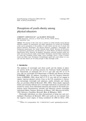 Primary view of object titled 'Perceptions of Youth Obesity Among Physical Educators'.