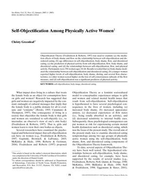 Self-Objectification Among Physically Active Women