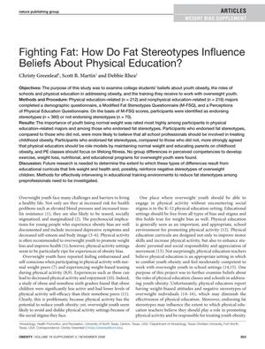 Primary view of object titled 'Fighting Fat: How Do Fat Stereotypes Influence Beliefs About Physical Education'.