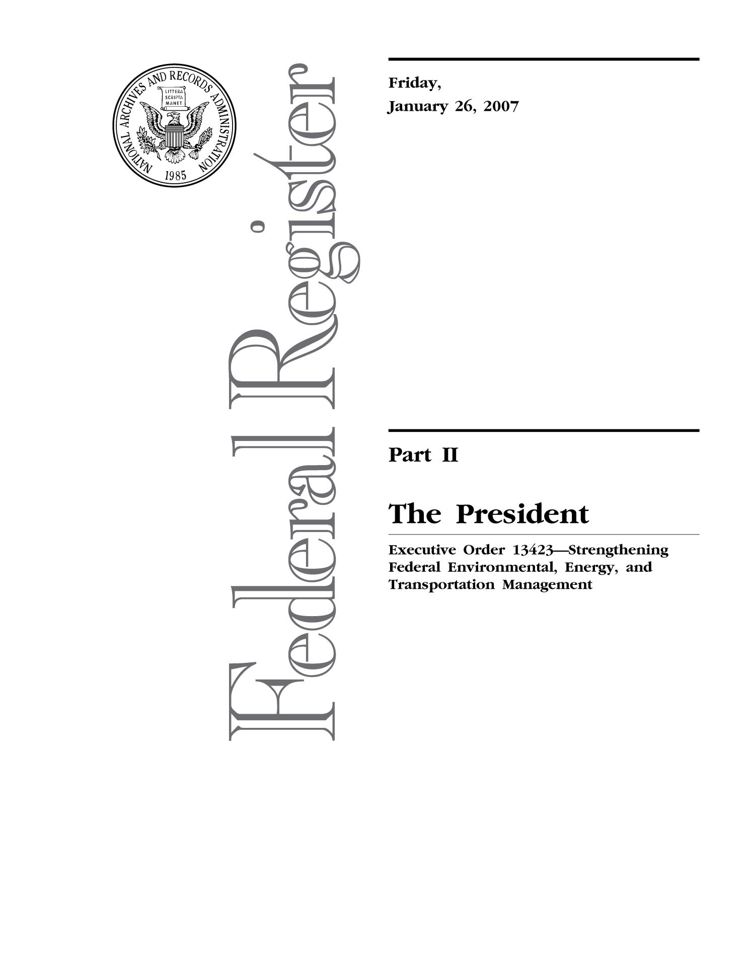 Strengthening Federal Environmental, Energy, and Transportation Management                                                                                                      Title Page