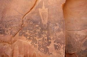 Primary view of object titled 'Petroglyphs, Kane Creek Road, near Moab, Utah'.