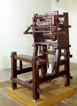 Primary view of object titled 'First Loom for Weaving Stockings'.