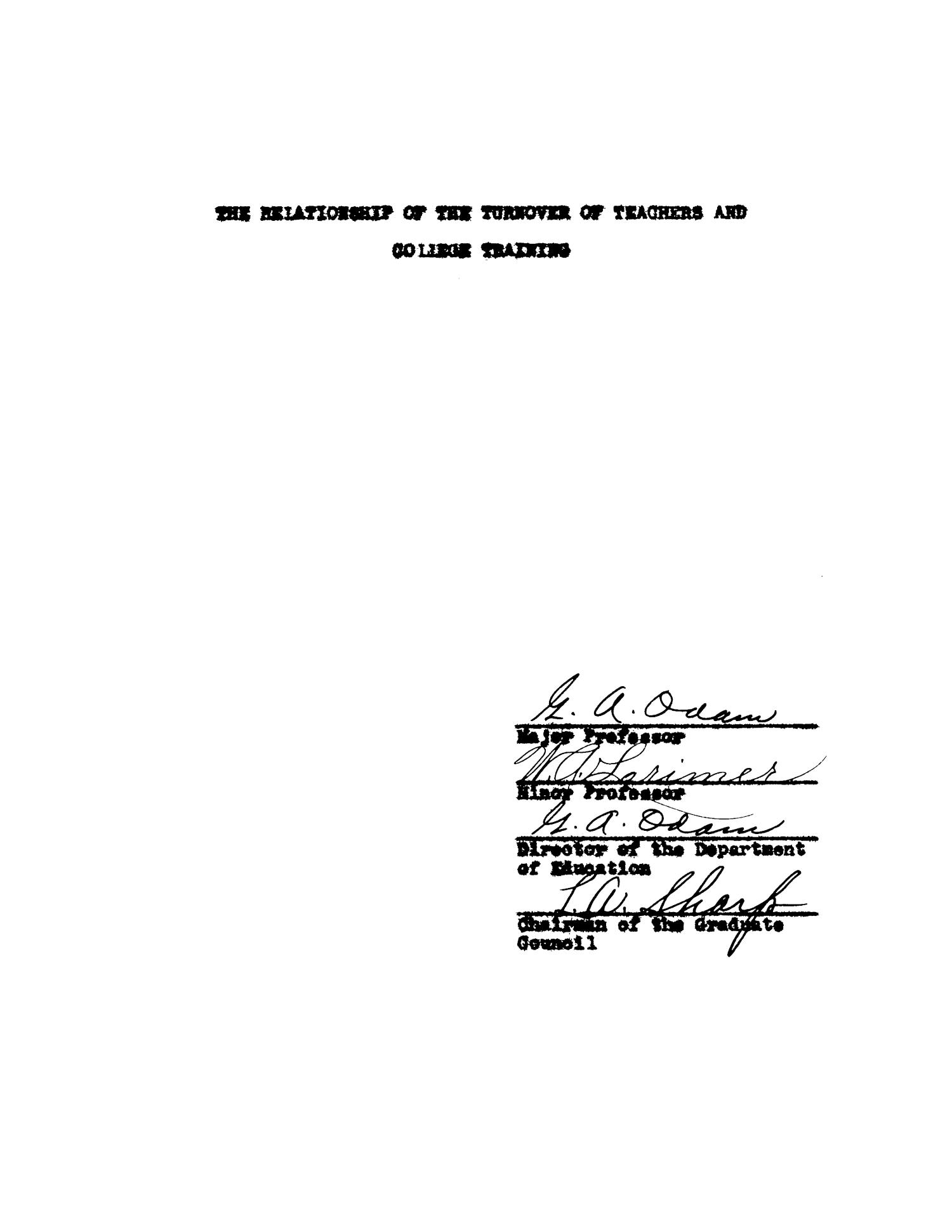 The Relationship of the Turnover of Teachers and College Training                                                                                                      Title Page