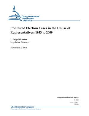 Contested Election Cases in the House of Representatives: 1933 to 2009