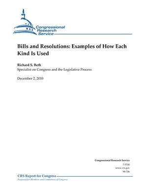 Bills and Resolutions: Examples of How Each Kind Is Used