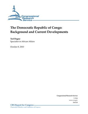 The Democratic Republic of Congo: Background and Current Developments