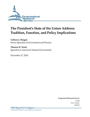 The President's State of the Union Address: Tradition, Function, and Policy Implications