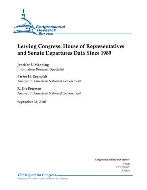 Leaving Congress: House of Representatives and Senate Departures Data Since 198