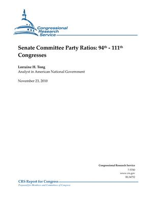 Senate Committee Party Ratios: 94th - 111th Congresses