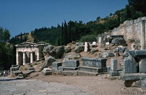 Primary view of object titled 'Sanctuary of Apollo with Treasury of Athenians, Stoa and Rock of the Sibyl'.