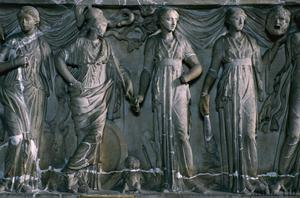 Primary view of object titled 'Relief with Apollo, Athena and the Muses'.
