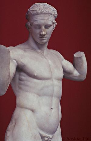 Primary view of object titled 'Diadoumenos, Roman marble copy of a Greek bronze sculpture by Polykleitos'.