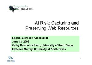 Primary view of object titled 'At Risk: Capturing and Preserving Web Resources'.