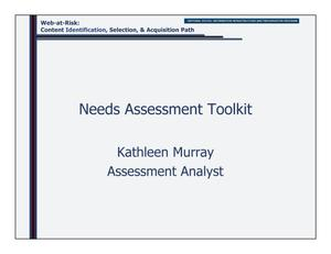 Primary view of object titled 'Needs Assessment Toolkit'.