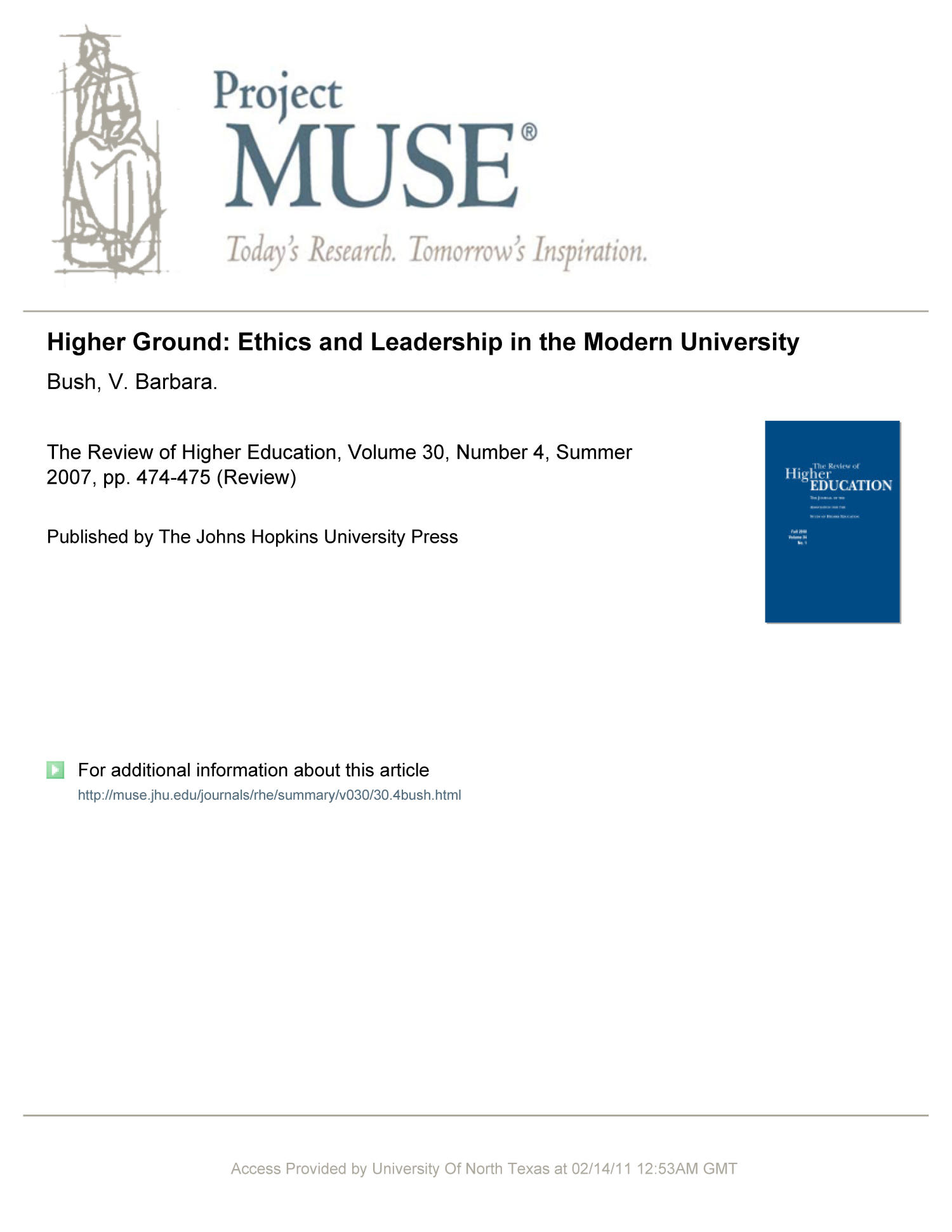 [Review] Higher Ground: Ethics and Leadership in the Modern University                                                                                                      473