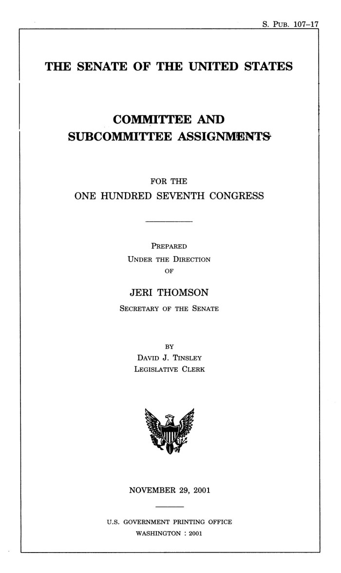 committee and subcommittee assignments for the 107th congress