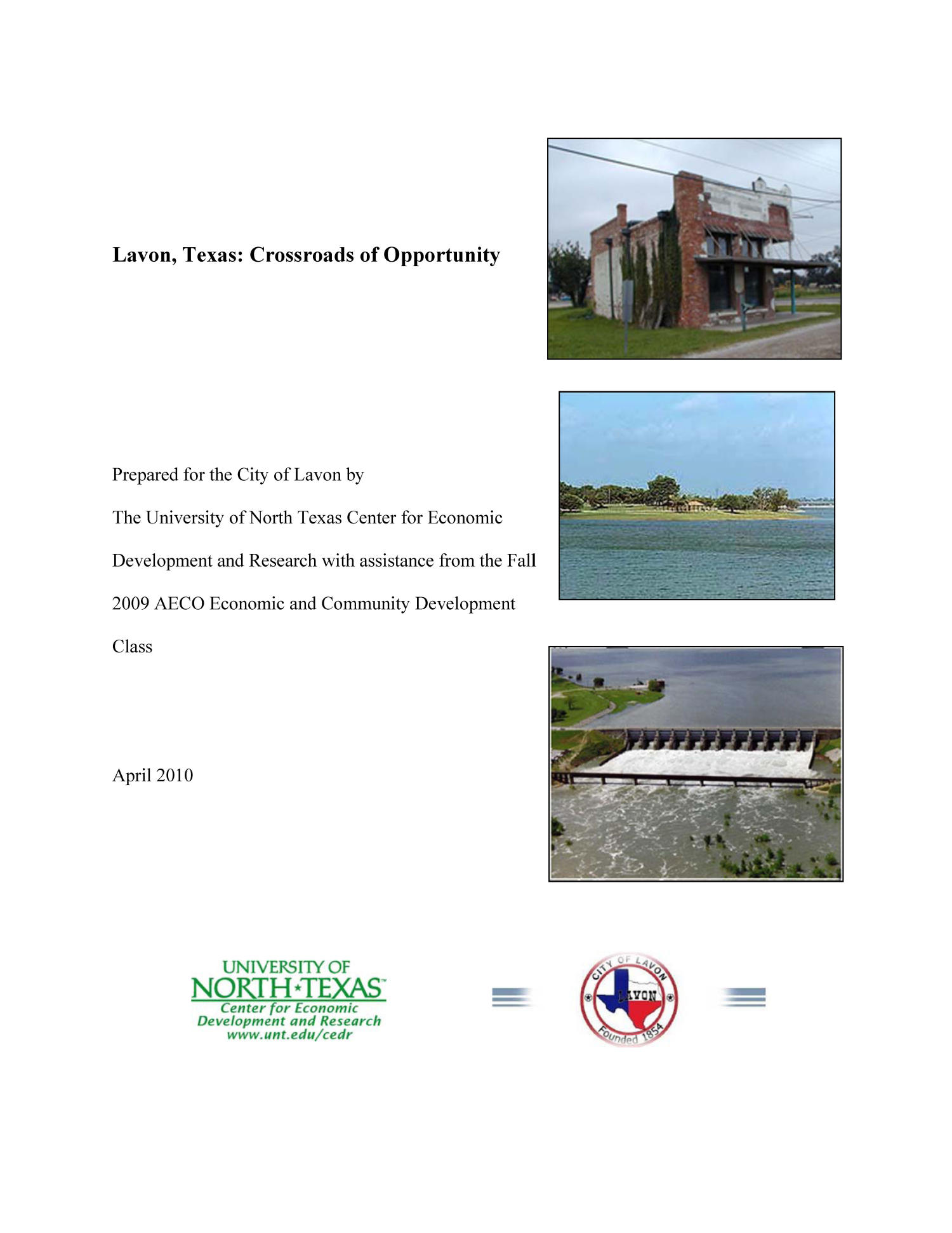 Lavon, Texas: Crossroads of Opportunity                                                                                                      Front Cover