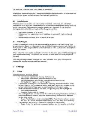 Focus Group Report: California Digital Library, Oakland, CA