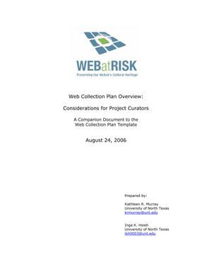 Primary view of object titled 'Web Collection Plan Overview: Considerations for Project Curators'.