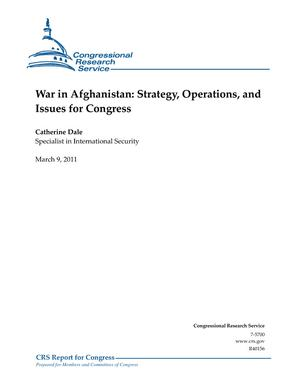War in Afghanistan: Strategy, Operations, and Issues for Congress