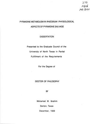 Primary view of object titled 'Pyrimidine Metabolism in Rhizobium: Physiological Aspects of Pyrimidine Salvage'.