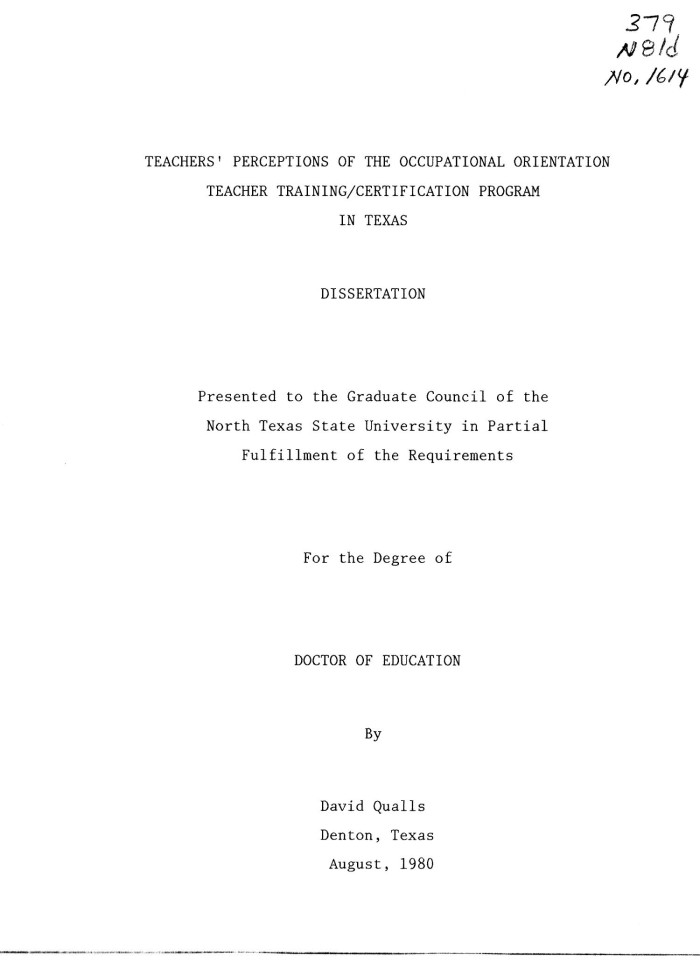Teachers Perceptions Of The Occupational Orientation Teacher