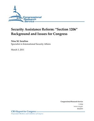 "Security Assistance Reform: ""Section 1206"" Background and Issues for Congress"