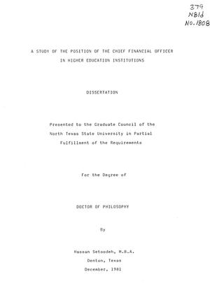 Primary view of object titled 'A Study of the Position of the Chief Financial Officer in Higher Education Institutions'.