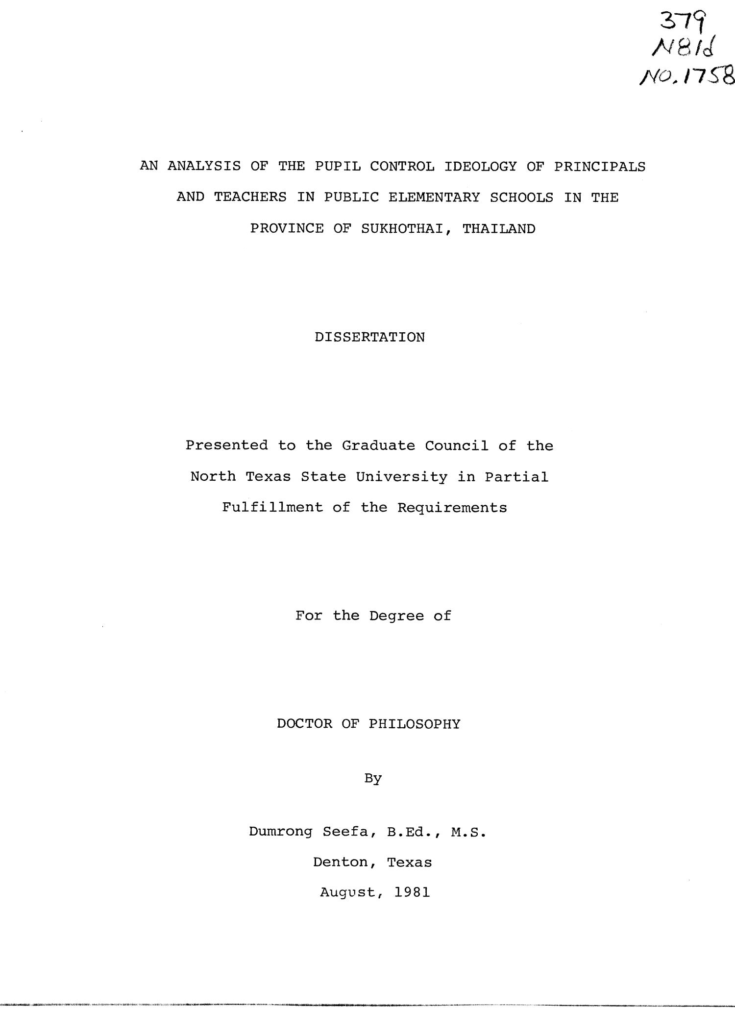 An Analysis of the Pupil Control Ideology of Principals and Teachers in Public Elementary Schools in the Province of Sukhothai, Thailand                                                                                                      Title Page