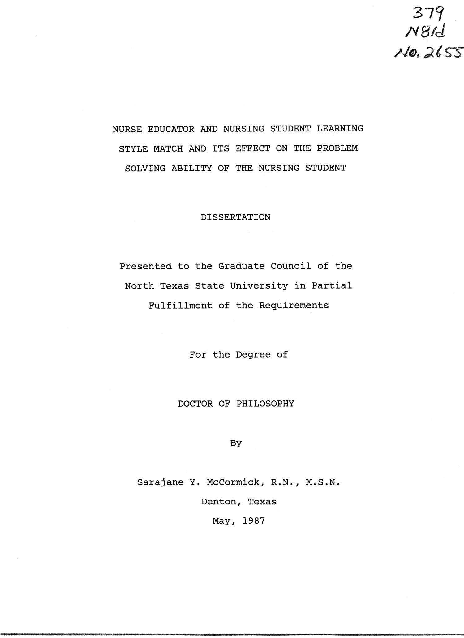 student nurse dissertations