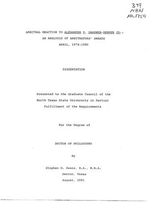 Primary view of object titled 'Arbitral Reaction to Alexander v. Gardner-Denver Co.: An Analysis of Arbitrators' Awards, April, 1974-1980'.