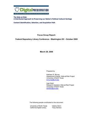 Focus Group Report: Federal Depository Library Conference - Washington, D.C. - October, 2005