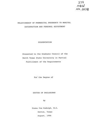Primary view of object titled 'Relationship of Premarital Pregnancy to Marital Satisfaction and Personal Adjustment'.