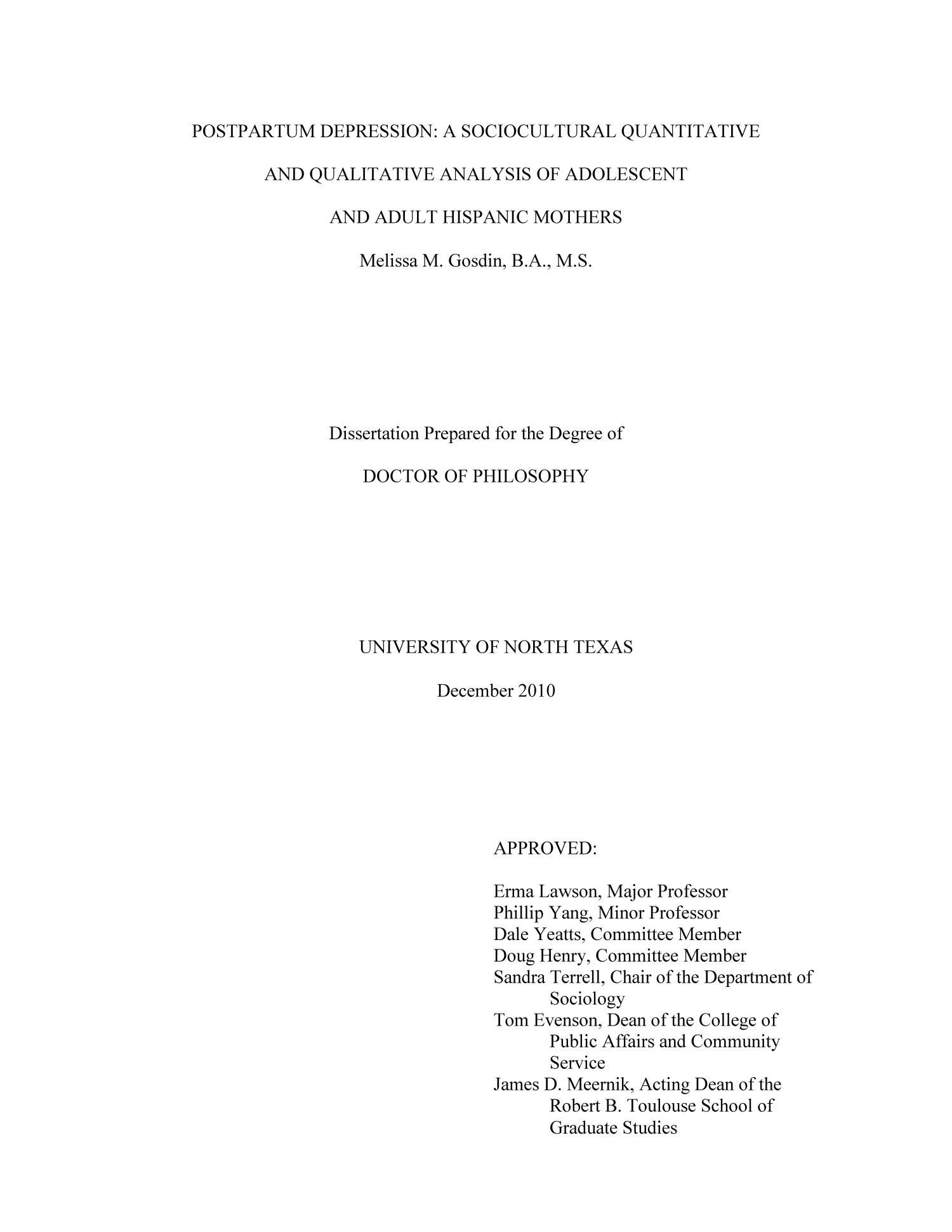 melissa gosdin dissertation