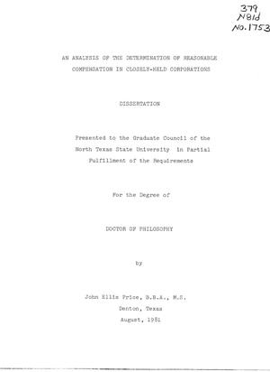Primary view of object titled 'An Analysis of the Determination of Reasonable Compensation in Closely-Held Corporations'.