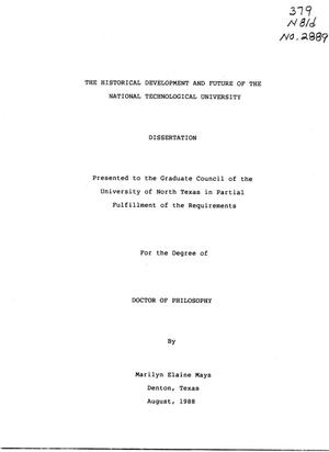 Primary view of object titled 'The Historical Development and Future of the National Technological University'.