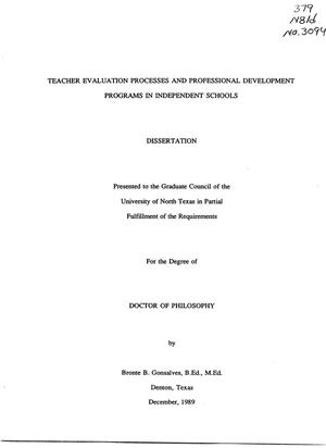 Primary view of object titled 'Teacher Evaluation Processes and Professional Development Programs in Independent Schools'.