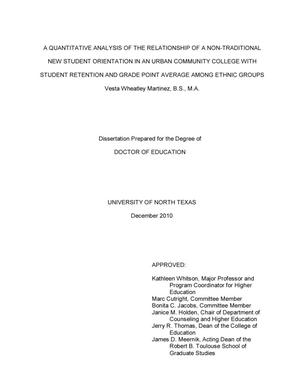 non-traditional student dissertations