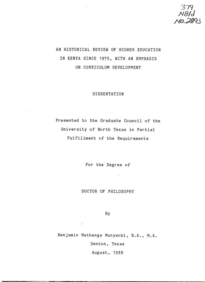 Dissertation of curriculum development