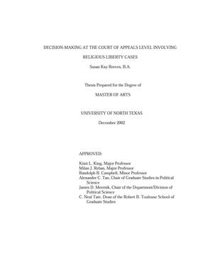 Decision-Making at the Court of Appeals Level Involving Religious Liberty Cases