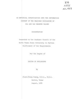 Primary view of object titled 'An Empirical Investigation into the Information Content of the Required Disclosure of Oil and Gas Reserve Values'.