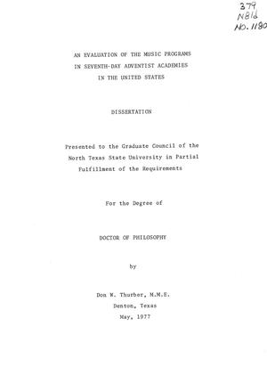 Primary view of object titled 'An Evaluation of the Music Programs in the Seventh-Day Adventist Academies in the United States'.