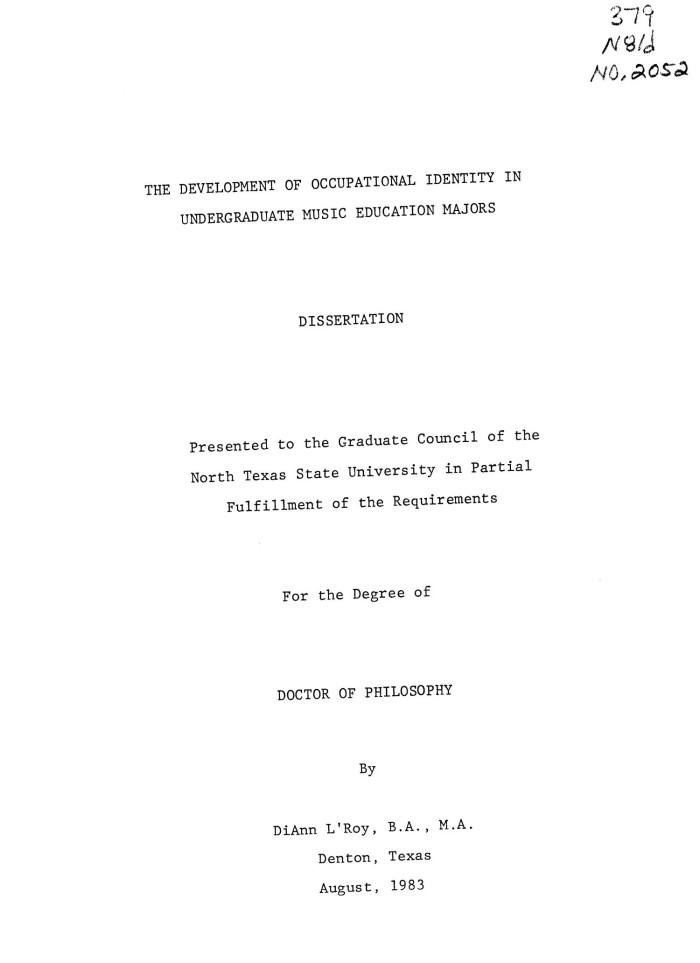 The Development Of Occupational Identity In Undergraduate Music