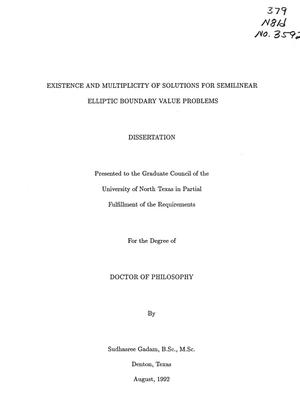 Primary view of object titled 'Existence and multiplicity of solutions for semilinear elliptic boundary value problems'.