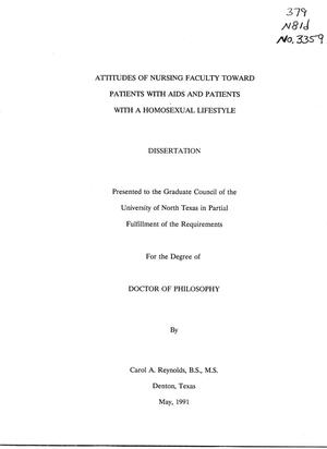 Primary view of object titled 'Attitudes of nursing faculty toward patients with AIDS and patients with a homosexual lifestyle'.
