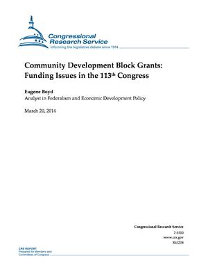 Community Development Block Grants: Funding Issues in the 113th Congress