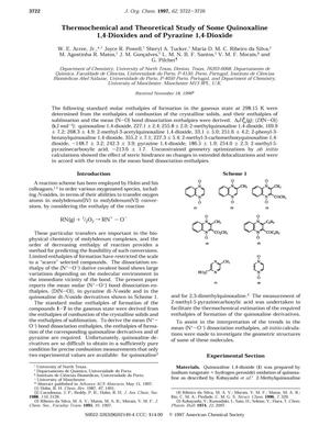 Primary view of object titled 'Thermochemical and Theoretical Study of Some Quinoxaline 1,4-Dioxides and of Pyrazine 1,4-Dioxide'.