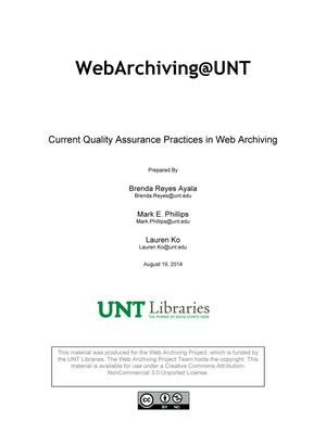 Primary view of object titled 'Current Quality Assurance Practices in Web Archiving'.