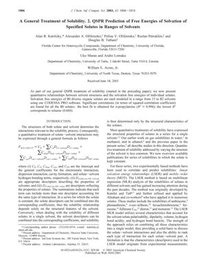 Primary view of object titled 'A General Treatment of Solubility. 2. QSPR Prediction of Free Energies of Solvation of Specified Solutes in Ranges of Solvents'.